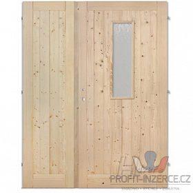 Palubkové dveře dvoukřídlé 125 cm sklo