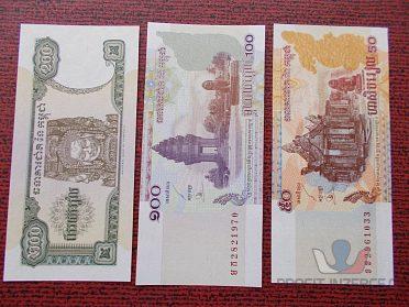 KAMBODŽA - sestava tří bankovek - UNC