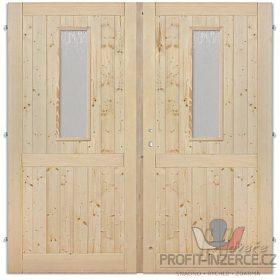 - Palubkové dveře dvoukřídlé 145cm sklo
