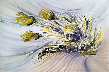 Obraz-Kytice ve větru
