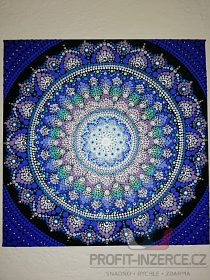 Modrá mandala 30*30 cm