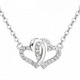 Stříbrný přívěsek s řetízkem spojená srdce