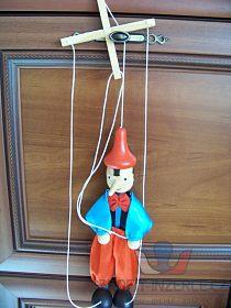 set plyšáků, hračky a loutka Pinocchio
