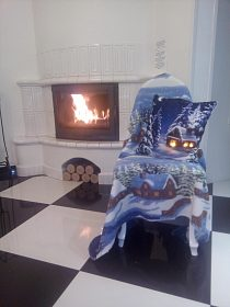 Vánoční fleesový svítící polštářek a deka