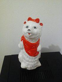 Porcelánová dekorace váza, figurka medvědice výška 21 cm, glazura