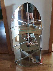 Rohová zrcadlová polička/police,výška 95