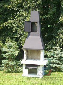 betonový zahradní krb - gril s udírnou