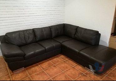 Kožená sedačka černá