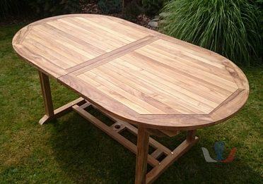 Teakový oválný stůl na zahradu