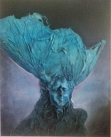Mlha (Miloš Uhrín) – Modrá vlasatice, plastická olejomalba