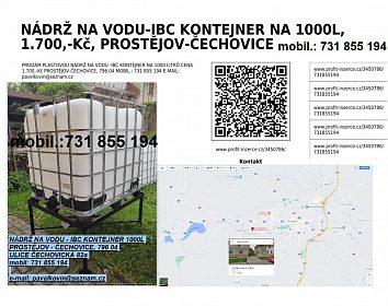 NÁDRŽ NA VODU-IBC KONTEJNER NA 1000L 1.700,-Kč PROSTĚJOV-ČECHOVICE 82a
