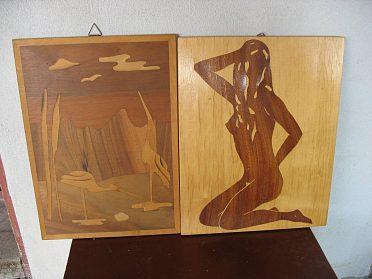 Obrazy v rámech,ručně vyšívané, malov., intarzie.