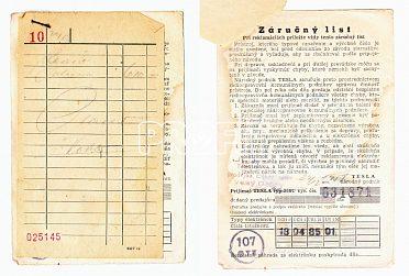 Rádio Talisman 308U, originální doklad o koupi a záruční list, 1955