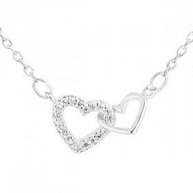 Řetízek stříbro spojená srdce