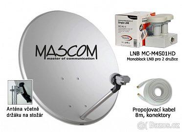 prodám super komplet- satelit parabola 80cm + amiko přijímač i s aktiv