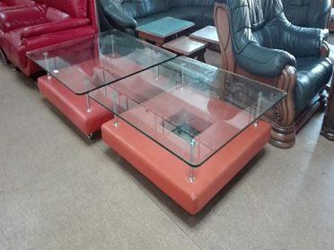 2x moderní konferenční stůl koženka + silné sklo, rozměr 115x115cm, kus 500,-kč