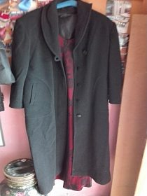 Dlouhý flaušový kabát velikost 44-46 cena 100,-kč