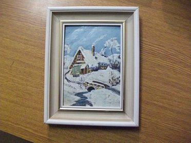 Pěkný malovaný obrázek v rámečku bez podpisu, cena 150,-kč
