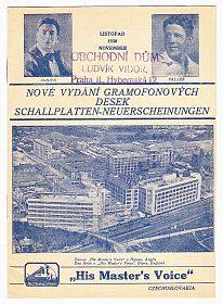 Originální starožitný katalog gramodesek His Master's Voice, rok 1930