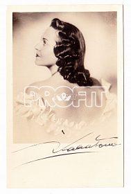 Zita Kabátová, portrétní pohlednice s podpisem