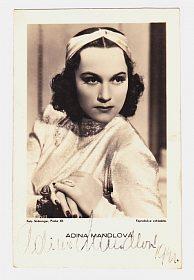 Adina Mandlová, portrétní pohlednice s podpisem