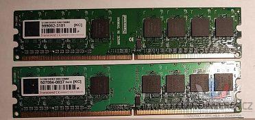 2 kusy DDR2 paměti do PC, DIMM 512 MB