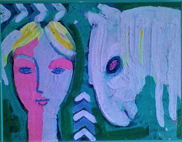 Jaroslav Blažek, Bílý kůň, olej na desce, 40x52 cm.
