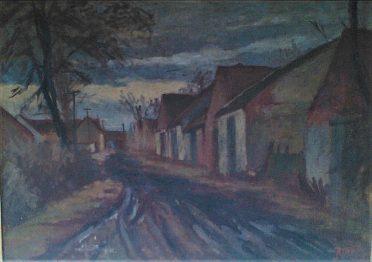 Jaroslav Blažek, Kostické stodole, olej na plátně, 80x115 cm.